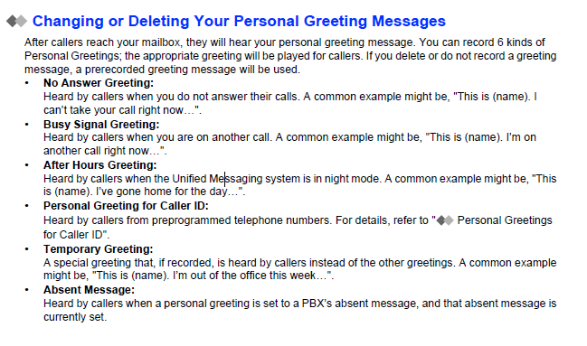 Voice mail chnaging personal greeting